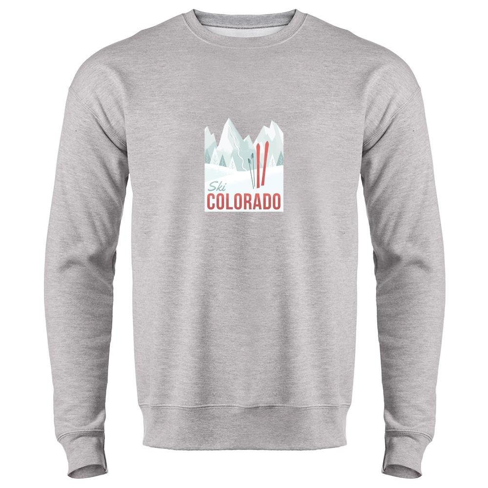 Pop Threads Ski Colorado Travel Retro Heather Gray XL Mens Fleece Crew Neck Sweatshirt