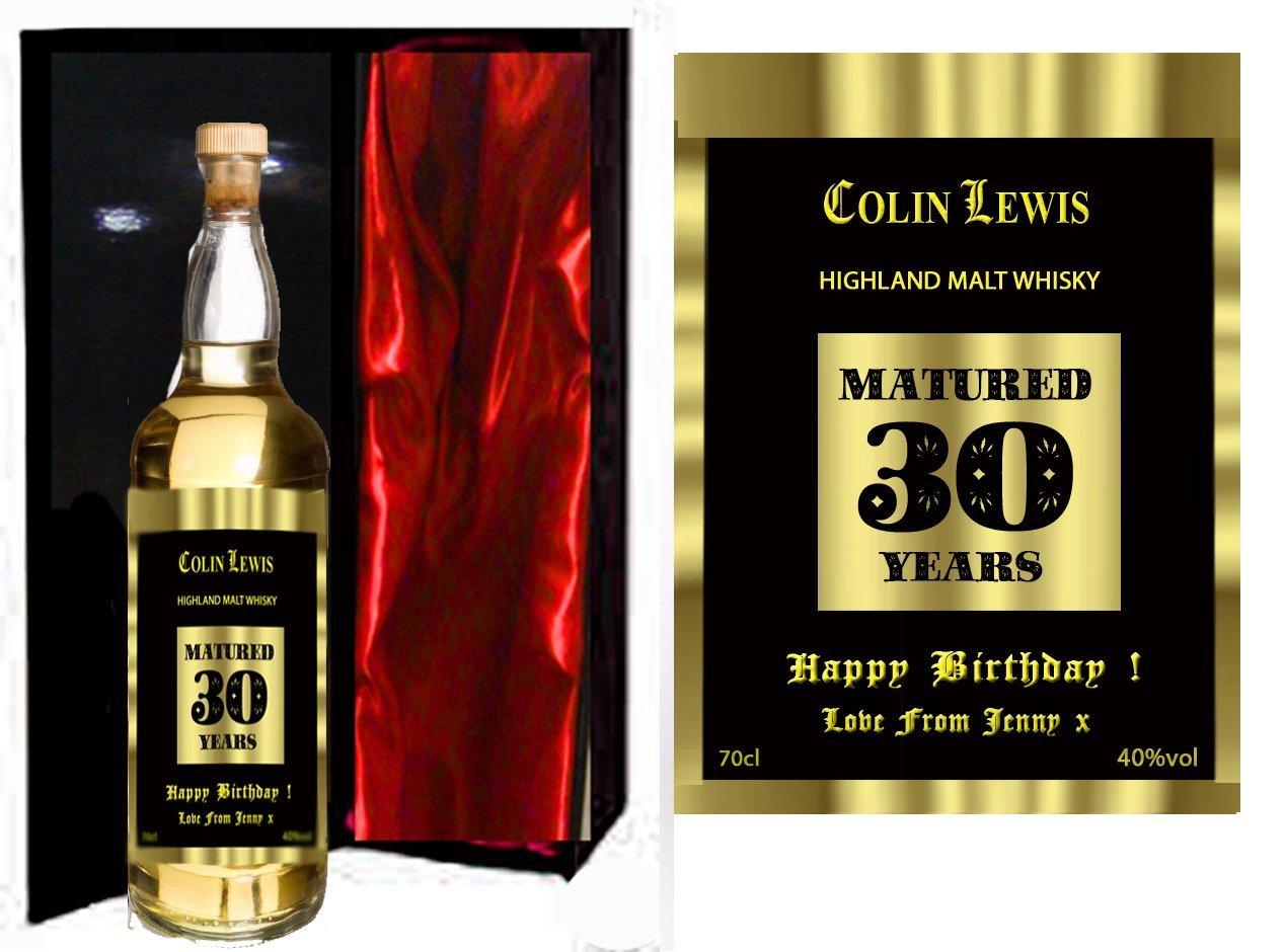 30th Birthday Personalised Highland Malt Whisky In Luxury Black
