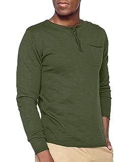 MODCHOK Herren Longsleeve Langarmshirt Knopfleiste Henley Shirt  V-Ausschnitt Grandad-Ausschnitt Basic T- e890f77ef9