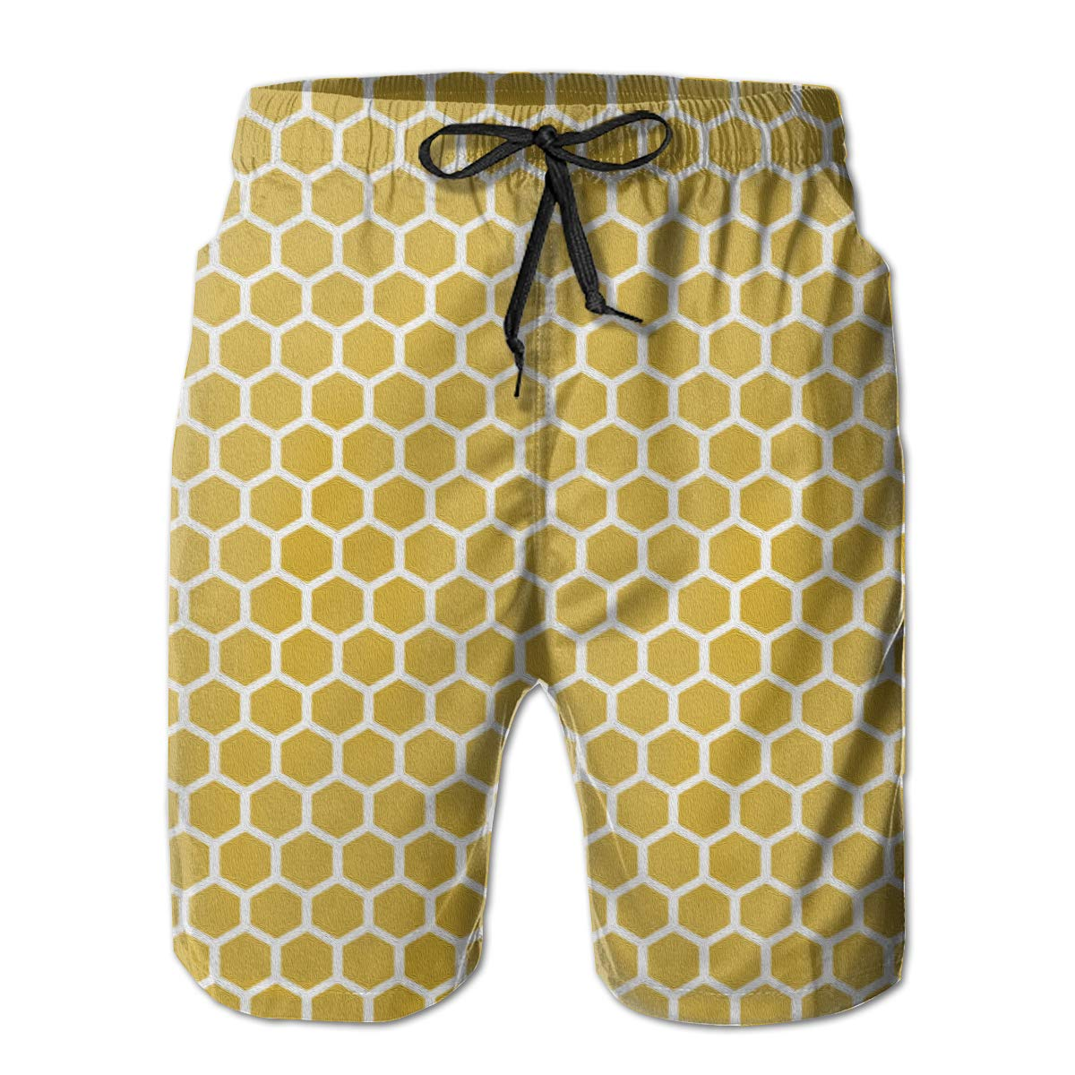 FASUWAVE Mens Swim Trunks Honeycomb Quick Dry Beach Board Shorts with Mesh Lining