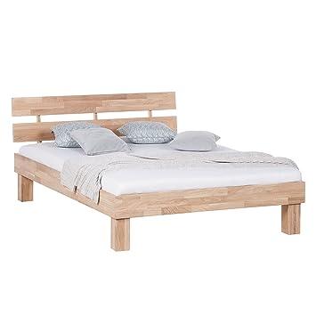 Dynamic24 Massiv Holz Doppelbett 140x190cm Eiche Bettgestell Ehebett Schlafzimmer  Bett