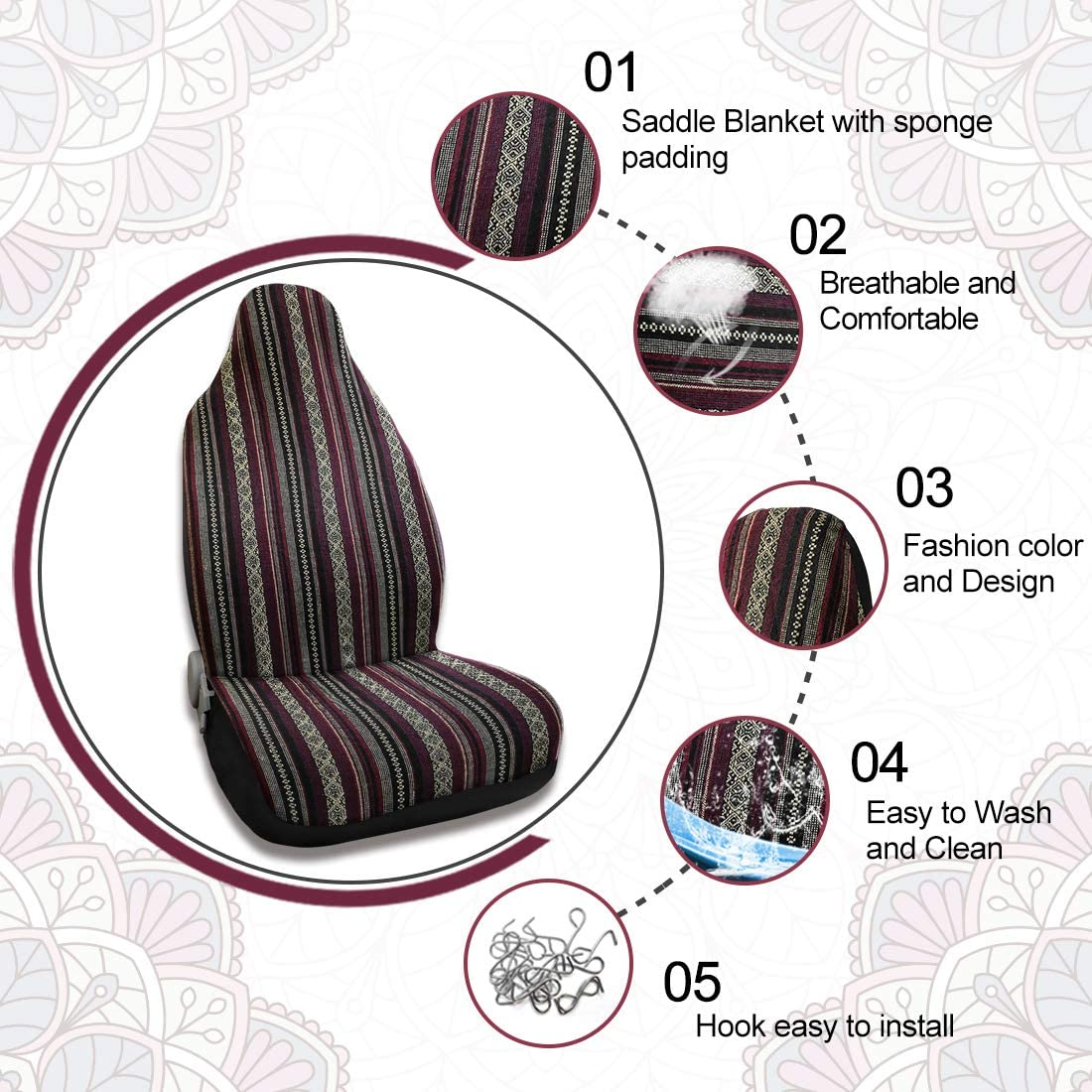 X AUTOHAUX Brown Universal Front Seat Cover Saddle Blanket Bucket Seat Cover with Seat-Belt Pad for Car SUV Truck 2pcs