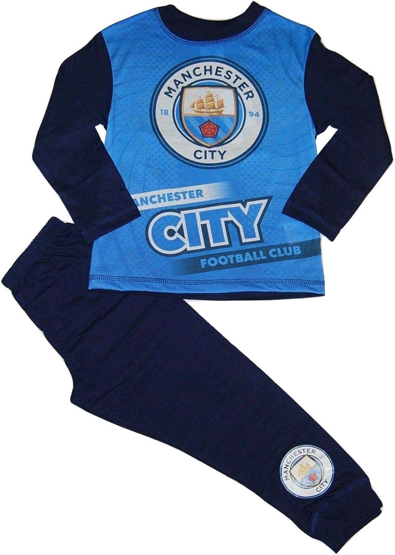 Boys Official Manchester United Manchester City FC Pyjamas Man Utd PJs Age 4-11Y