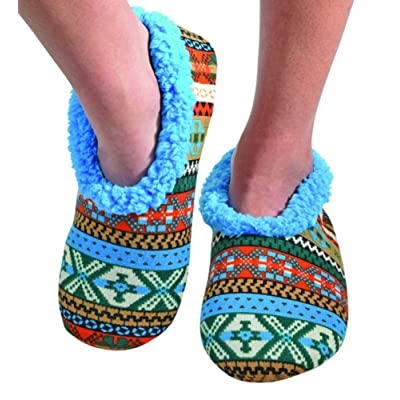 Snoozies Womens Comfy Soft Nordic Knit Fleece Slipper Socks - Blues, Large | Slippers