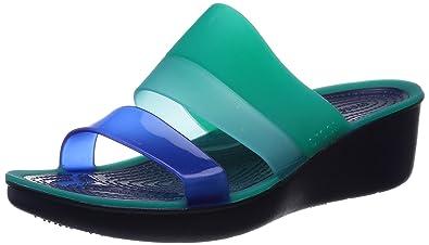 8f5be71d131370 crocs Women's Colorblock Wedge Sandal, Tropical Teal/Nautical Navy, 8 B(M