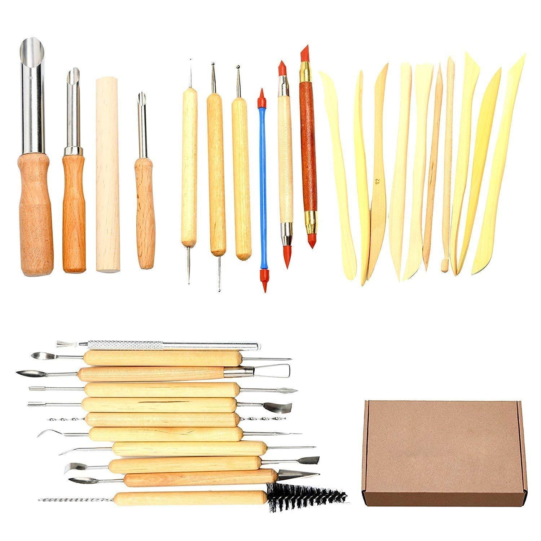 YaeTek 31PCS Ceramic Pottery Tools Clay Sculpting Tool Set for Carving Modeling Cutting Scraping (31 PCS) Yaemart Corportation