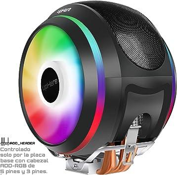 upHere 4 Heatpipes Ventilador de CPU ARGB LED Ventiladores PWM de 2 * 120mm Apoyo Intel y AMD(CCF150ARGB): Amazon.es: Electrónica