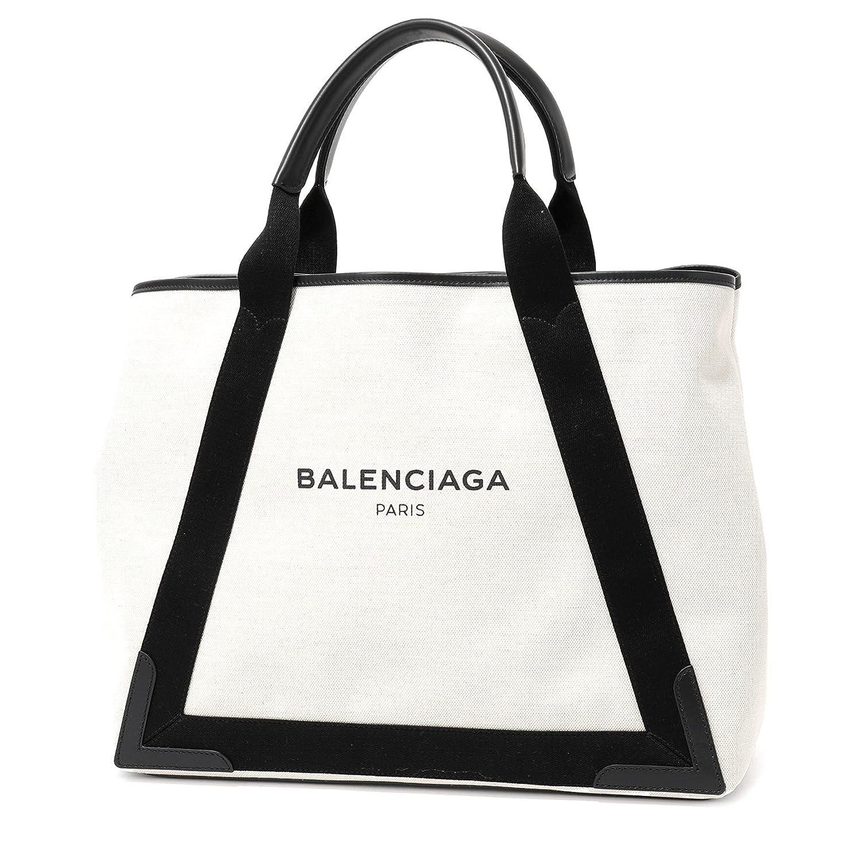 BALENCIAGA バレンシアガ 339936 AQ38N NAVY CABAS M キャンバス ショッピング トートバッグ ポーチ付き カラー1081/NATUREL-NOIR [並行輸入品] B07D7W6H6D