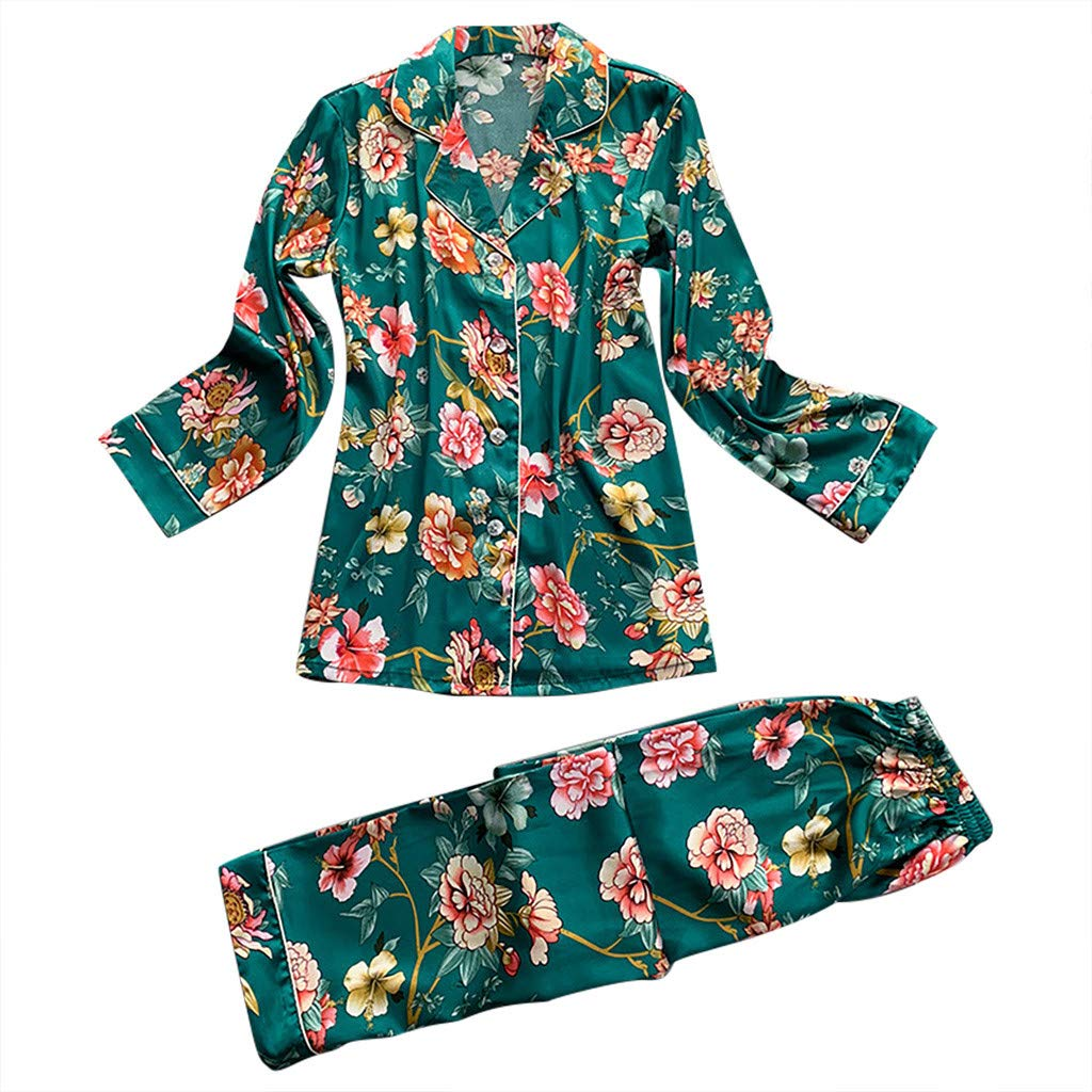 Jeramery Womens Sexy Linegrie for Sex Women's Satin Lingerie Long Sleeve Floral Print Nightgown Top Pants Set Sleepwear Green