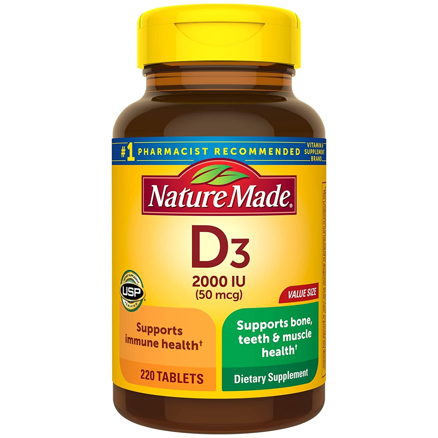 Nature Made Vitamin D3 2000 IU Tablets, 220 Ct