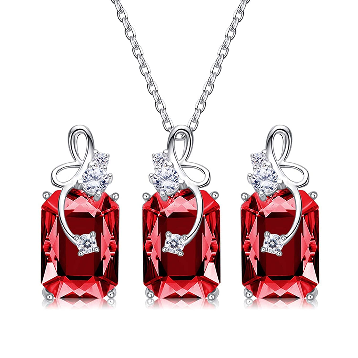 MoAndy S.W.A Crystal Necklace Chain Earrings Stud S925 Silver Bow Cluster Jewelry Set Gifts Wedding