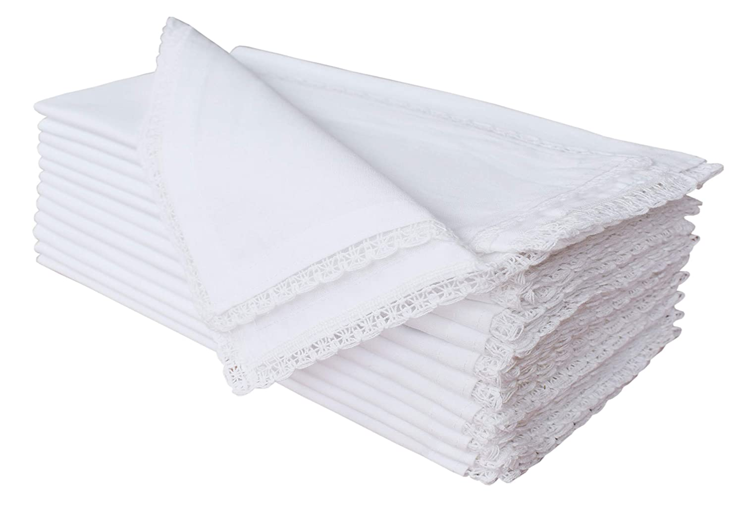 Cloth Napkin In Solid Cotton Fabric- White,Oversized 20x20 Lace, Wedding Napkins,Cocktails Napkins,Tailored With Mitered Corners & Generous Hem, Machine Washable Dinner Napkins Set of 12 Cotton Clinics