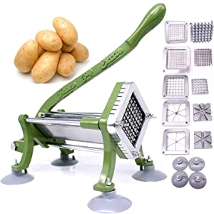 "French Fry Cutter Commercial Potato Slicer with Suction Feet Complete Set, Includes 1/4"", 3/8"",1/2"",8 Pieces,6 Pieces"