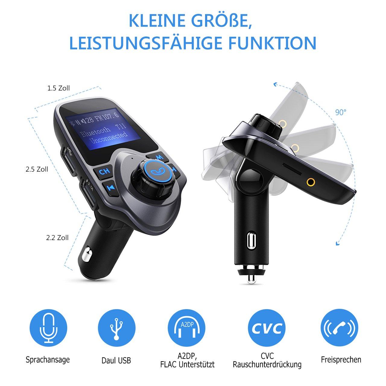 TopElek FM Transmitter Bluetooth, Bluetooth Adapter Freisprecheinrichtung mit Mikrofon, 3.5mm Audio Eingang// Ausgang Anschluss, TF-Karten-Slot, 2 Auto USB Ladeger/ä t, 1,44-Zoll-Bildschirm