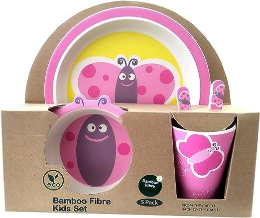 Apto para lavavajillas Material ecol/ógico sin BPA Animales B/úho Vajilla de bamb/ú beb/é e Infantil