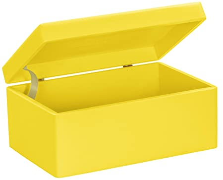 834468b5fd Universal wooden box with lid for storage - pine yellow lacquered - approx.  30 x 20 x 14 cm - FSC certified - Grinscard  Amazon.co.uk  Kitchen   Home