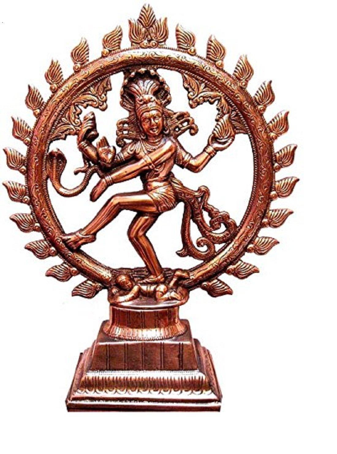 ZASSBY ENTERPRISES 17inch Dancing Lord Shiva Natraj God of Dance Natraja Copper Plated Metal Statue