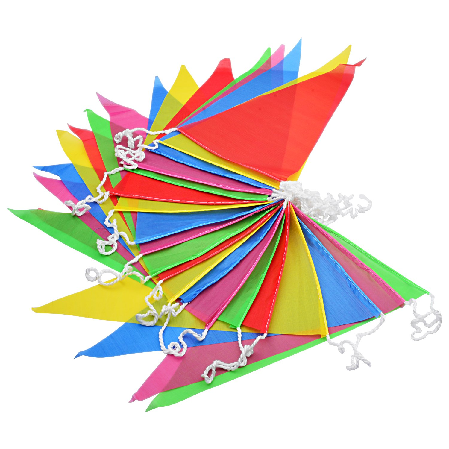 Joykey Multi-color Bunting Flags 100M Nylon Bunting Banner Braided String Pennant Banner for Wedding Birthday Party Outdoor Garden Decoration 200 Triangle Flags