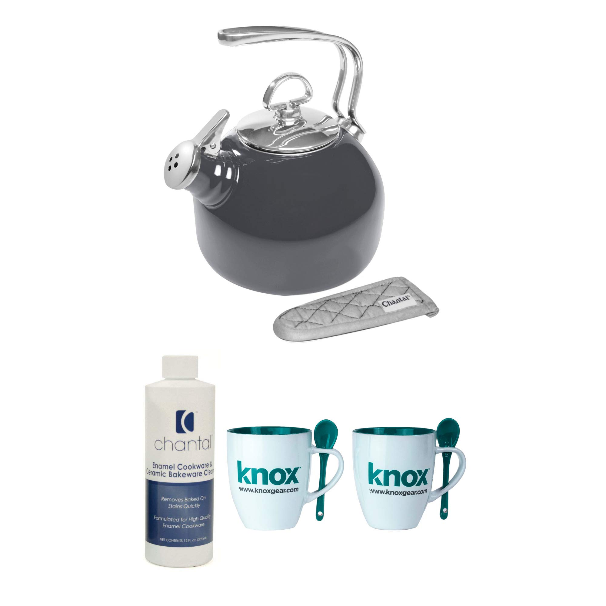 Chantal Enamel-On-Steel Classic Teakettle, Onyx Includes Chantal Enamel and Ceramic Cookware Cleaner and 2 Mugs