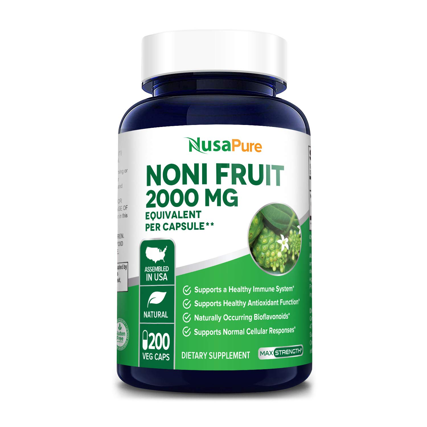 Noni Fruit 2000mg 200 Vegetarian caps (Extract 4:1, Non-GMO & Gluten-Free) Powerful antioxidant, Supports Healthy Immune System* Healthy Antioxidant Function*