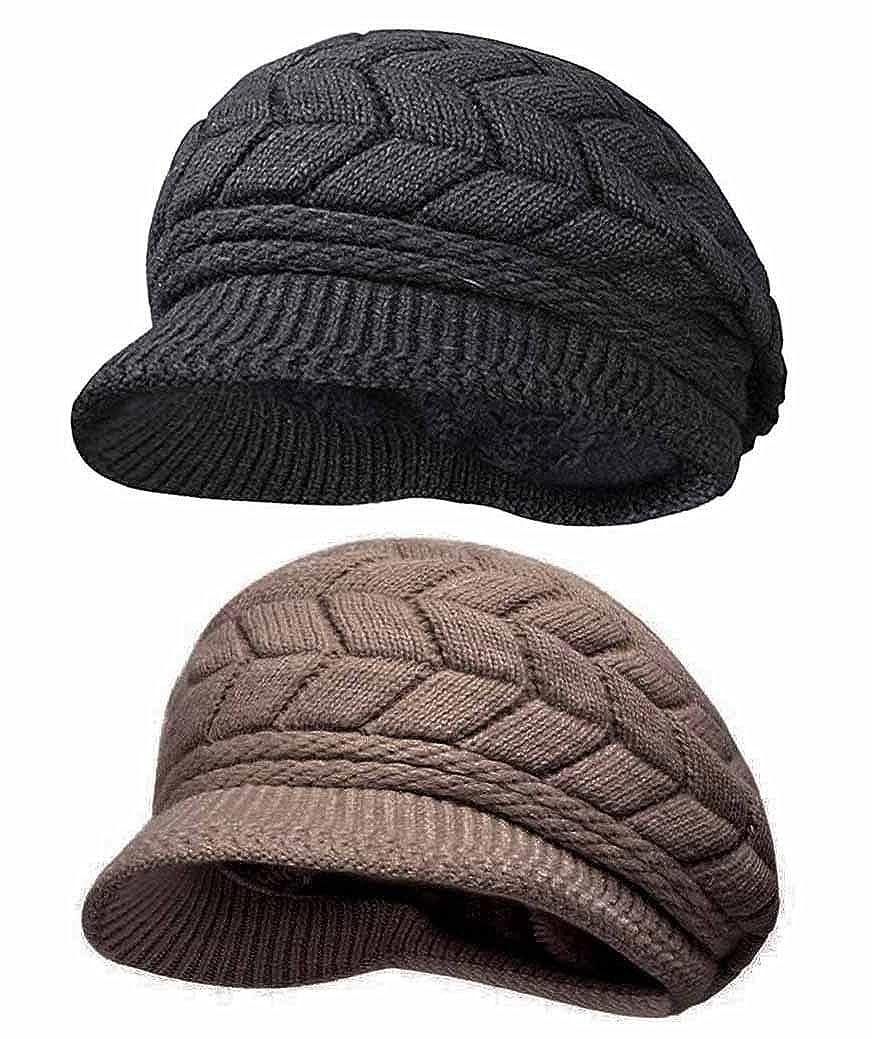 2hats(black+coffee) HINDAWI Women Winter Hats Knit Crochet Fashions Snow Warm Cap with Visor