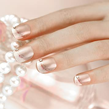 ArtPlus Uñas Postizas Falsas Artificial 24pcs Silver Line with Crystal Elegant Touch False Nails Premium Pack Full Cover French Manicure Medium Length with ...