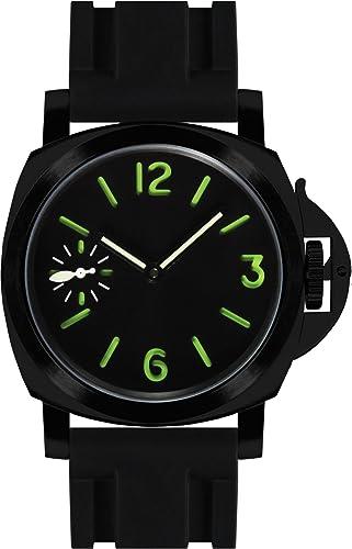 PARNIS 9077 deportivo cuerda manual de hombre reloj 44 mm de reloj de pulsera para hombre mecánico de acero inoxidable PVD Negro Caucho Pulsera Seagull ST36 ...