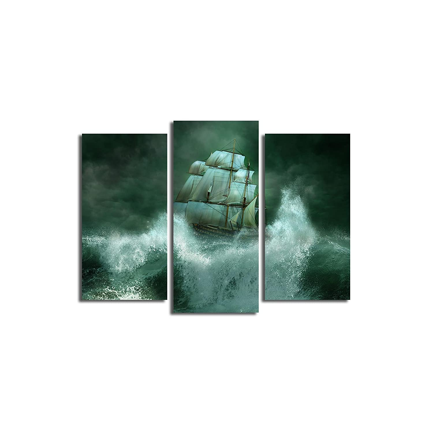 26 x 18 Total Wooden Thick Frame Painting Ship Ocean Storm Night Wave Cloud Nature 3PATK-43 Multicolor LaModaHome Decorative Canvas Wall Art 3 Pcs
