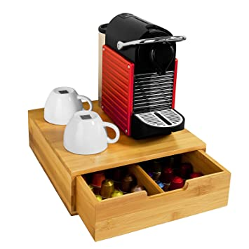 SoBuy FRG70-N,ES Estante cafetera, Soporte para Cápsulas de Café, con 1 cajón, de Bambú: Amazon.es: Hogar
