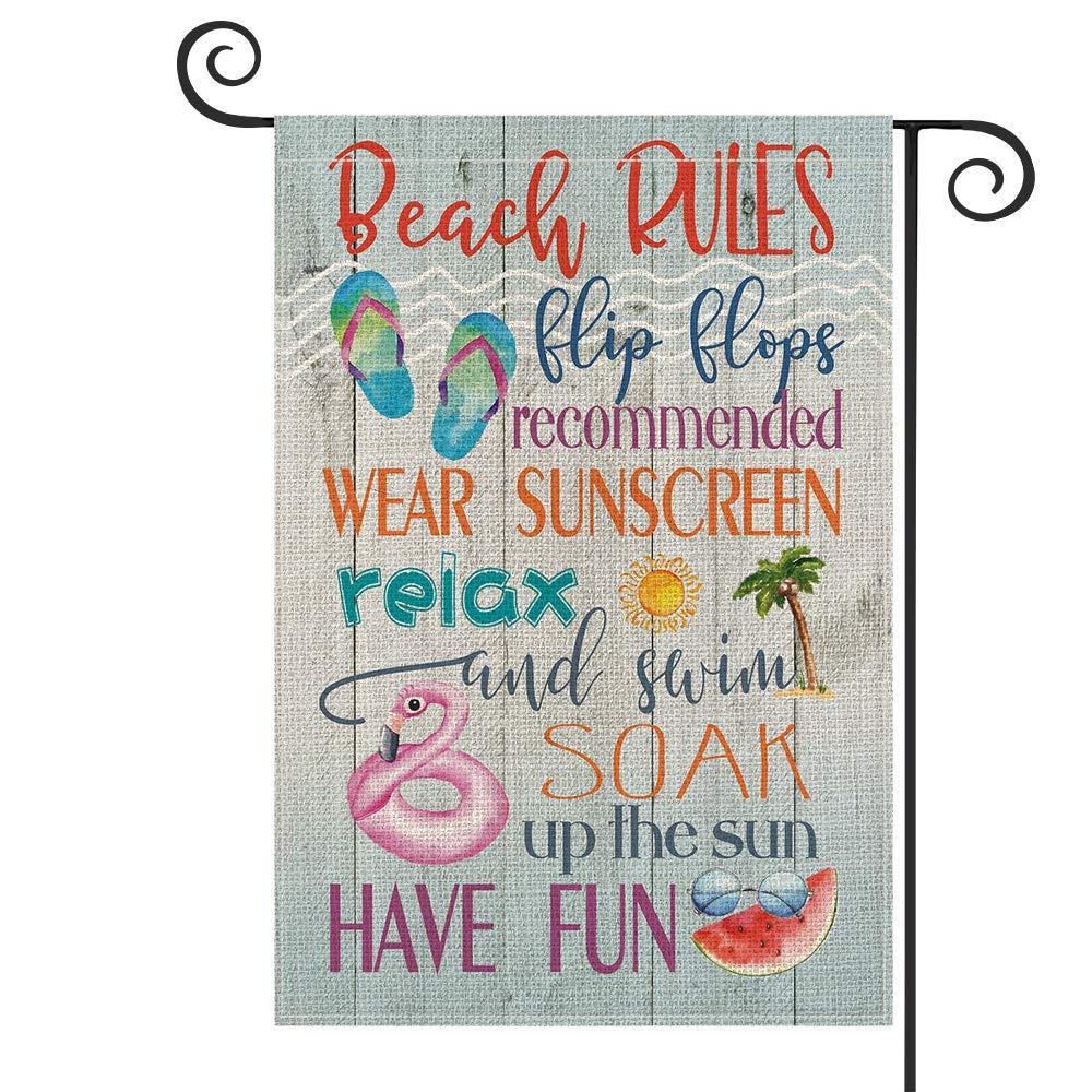 AVOIN Beach Rules Slogan Wood Garden Flag Vertical Double Sized, Flip Flops Relax Have Fun Summer Yard Outdoor Decoration 12.5 x 18 Inch