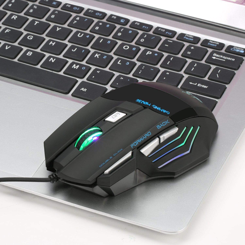 Gaming Maus,Queender USB Wired Maus mit Kabel Einstellbare DPI PC Mouse Hohe Präzision LED Mice für Pro Gamer, PC Windows Macbooks Laptops mit LED Backlight 7 Tasten(Schwarz)