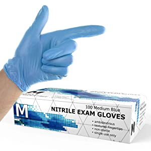 Powder Free Disposable Nitrile Gloves Medium -100 Pack, Blue -Medical Exam Glove