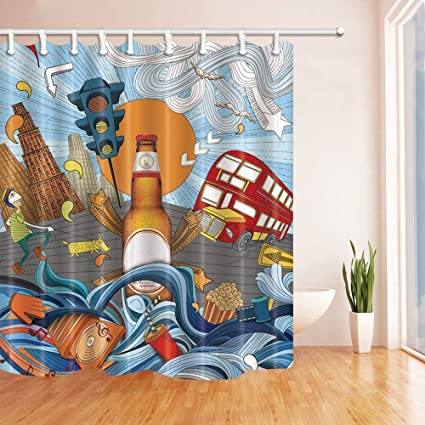 SZZWY Creative Decor Complicated Traffic Surround A Big Bootle Beer Mildew Resistant Polyester Fabric Shower Curtains