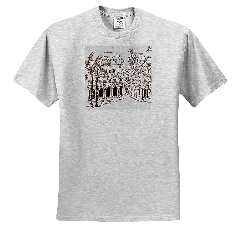 Spain Adult T-Shirt XL 3dRose Danita Delimont ts/_313873 Placa de la Reina in Old Town Spain Valencia