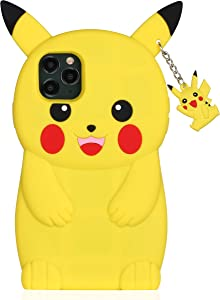 TopSZ Yellow Pikacu Case for iPhone 11 Pro,Silicone 3D Cartoon Hero Animal Cover,Kids Girls Teens Boys Man Animated Cool Fun Cute Kawaii Soft Unique Rubber Funny Character Cases for iPhone 11 Pro 5.8