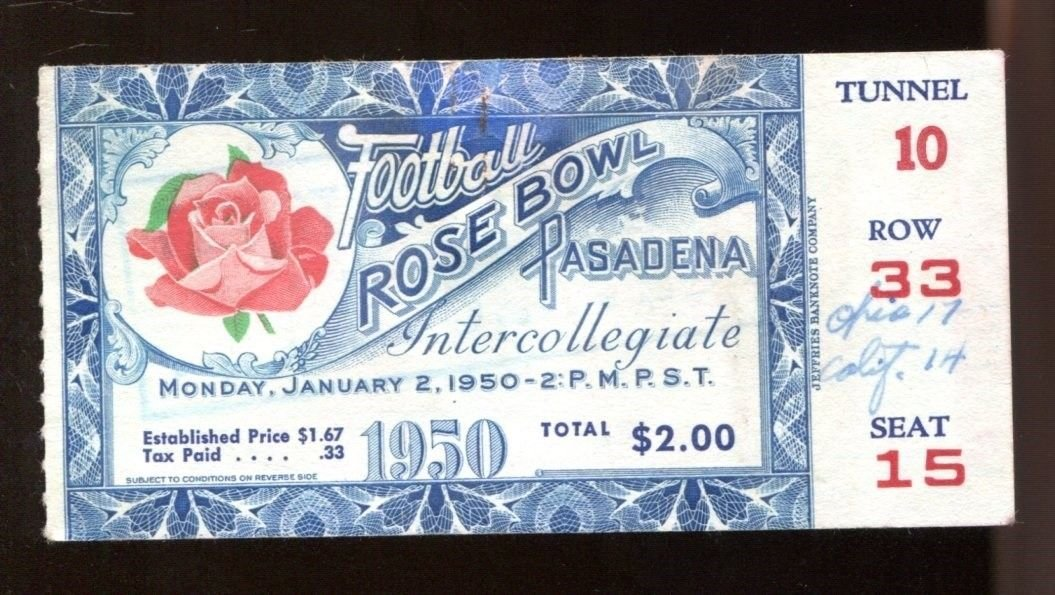 1950 Rose Bowl Ticket Ohio State v Cal Bears 1/2/50 40789