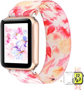 YOSWAN Compatible with Apple Watch Band 38mm 40mm Elastic Soft Nylon Solo Loop Starp Scrunchy Wristband, Women Men Cute Comfy Athletic Stretchy Bracelet Replacement Loop for iWatch SE Series 6 5 4 3 2 1 (Pink Floral, 38mm/40mm L Size)