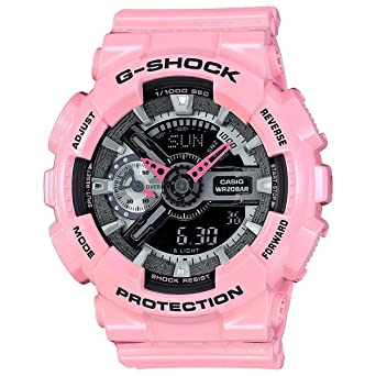 30ede9da4f75 Casio G-Shock Black and Smoke Dial Pink Resin Quartz Ladies Watch  GMAS110MP-4A2