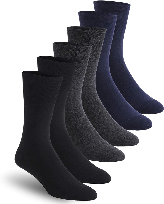 Ankle Diabetic Socks, Feelwe Unisex Non Binding Cotton Socks Seamless Toe Cushion Crew Summer Socks for Men Women 1/6 Pairs: Clothing