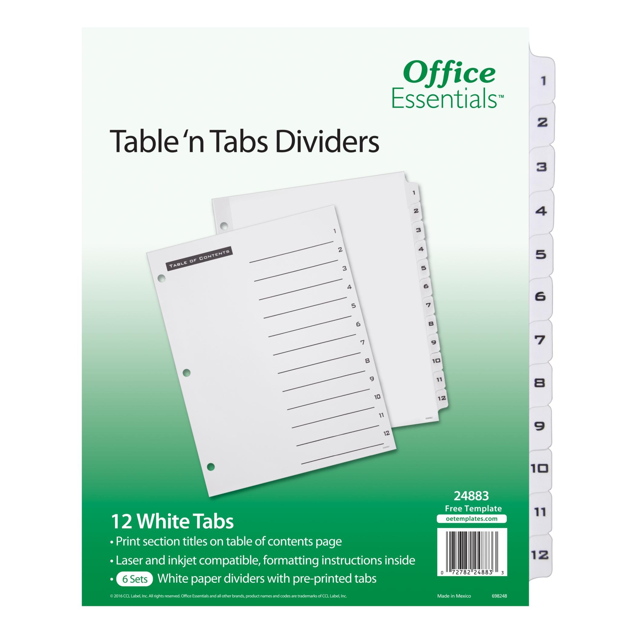 Office Essentials Table 'n Tabs Dividers, 8-1/2'' x 11'', 1-12 Tab, Black/White Tab, Laser/Inkjet, Pack of 6 (24883)