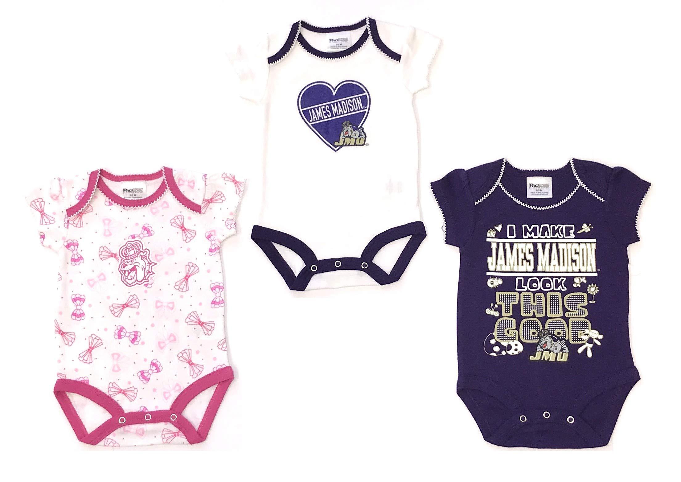 James Madison University Baby Fan Gear 3pc Cotton Envelope Neck Bodysuit - 9 Months, Purple, James Madison University