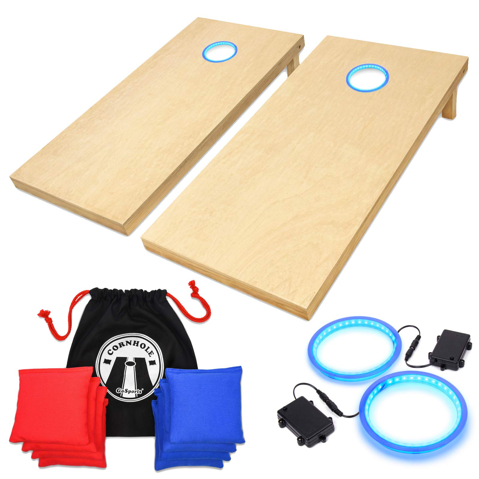 GoSports 4' x 2' Wooden Cornhole Set with Blue LED Rings