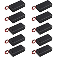 HALJIA 10 Stks 3 V AA 2 x 1.5 V Batterij Houder Case Plastic Batterij Opbergdoos met Case Cover AAN/UIT Schakelaar Draad…