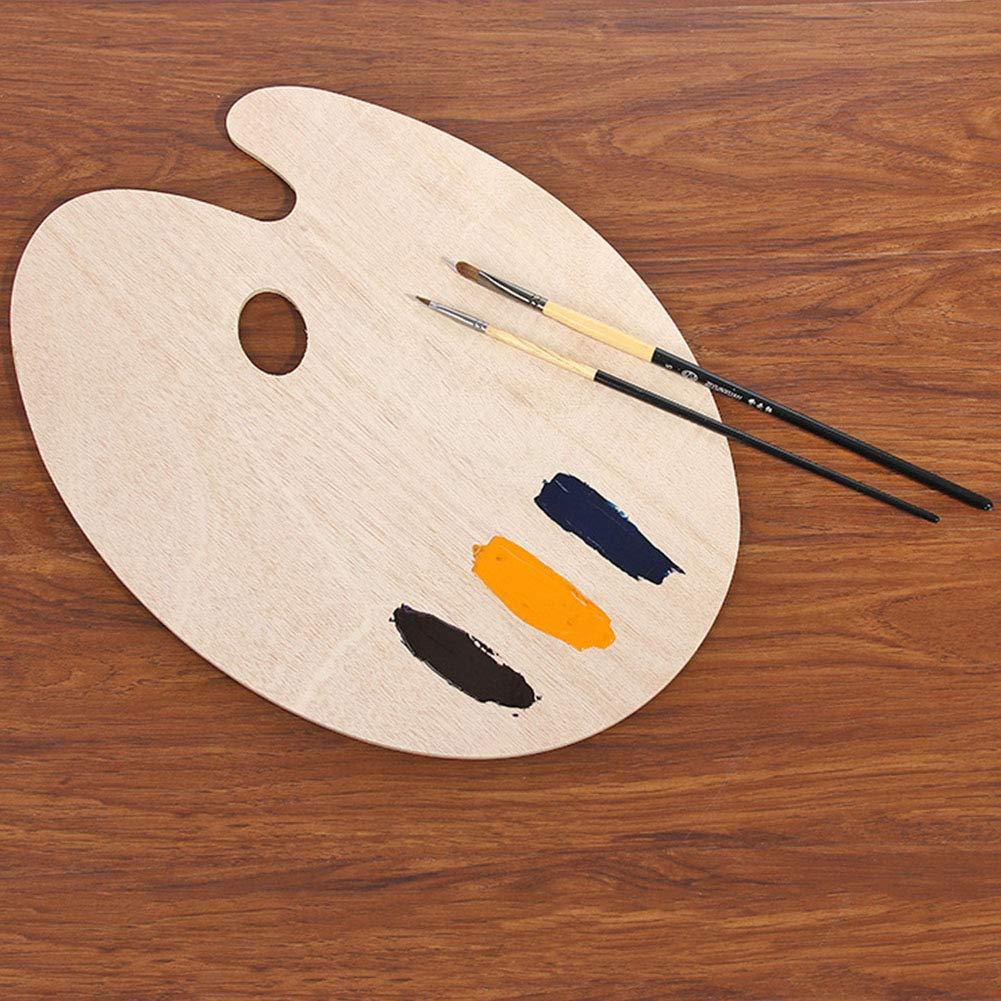 con foro per pollice per acquerello tavolozza olio pittura ad olio oval 20 * 30 * 0.5cm Come da immagine in legno Paint palette di forma ovale