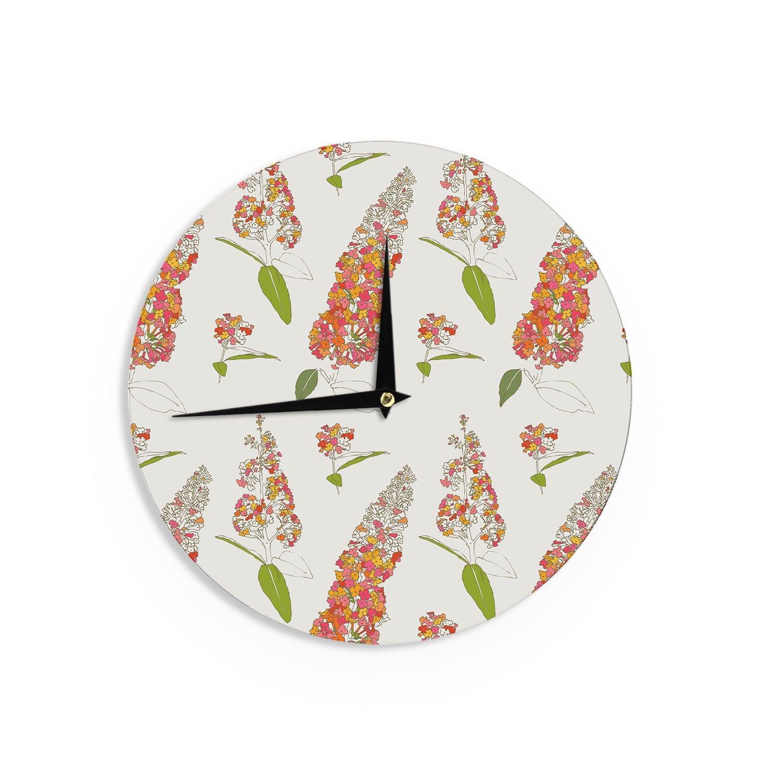 Kess InHouse Gukuuki Barika Belva Coral Floral Wall Clock 12