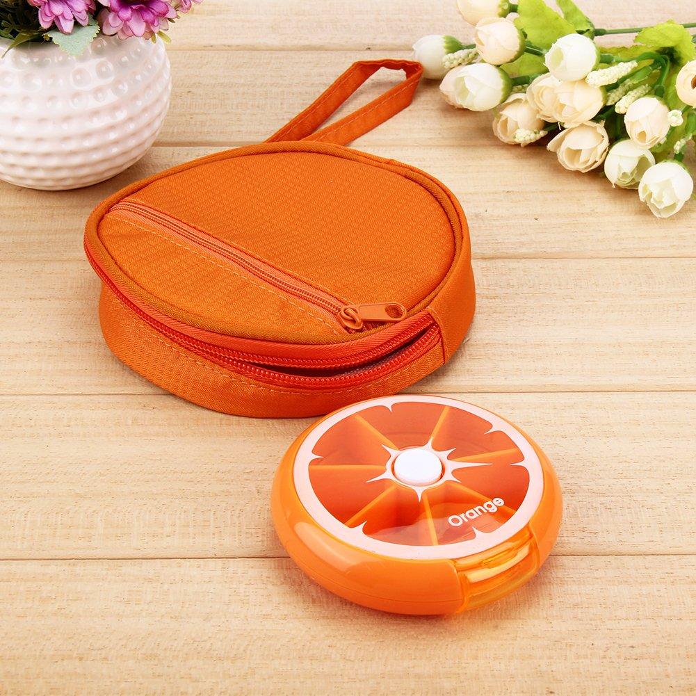 La Cabina Bo/îte /à Pilules Plastique 7 Jours Rotation Bo/îte de M/édecine Sac de Rangement de Stockage de M/édicaments orange