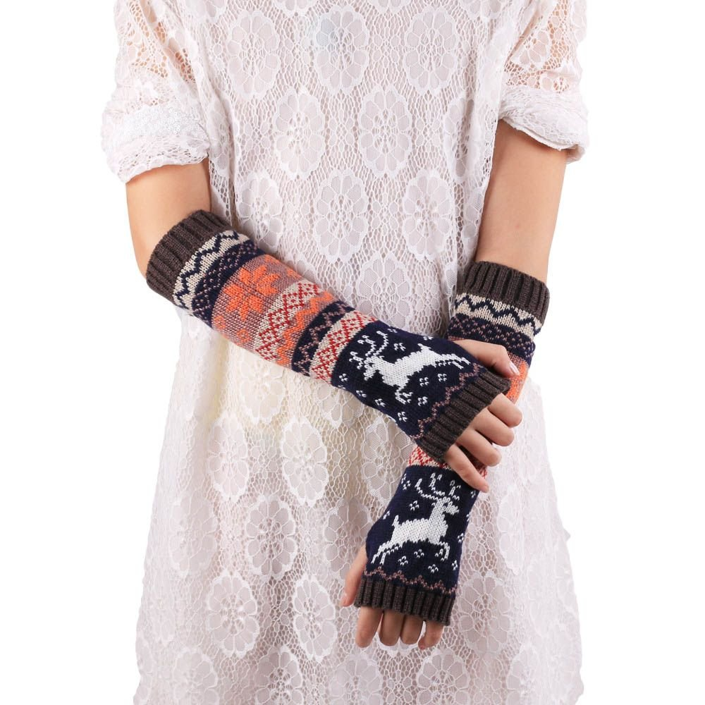 HuaYang Damen Winter Strick Warme Fingerlose Handschuhe Weiche Lange Hirsch Muster