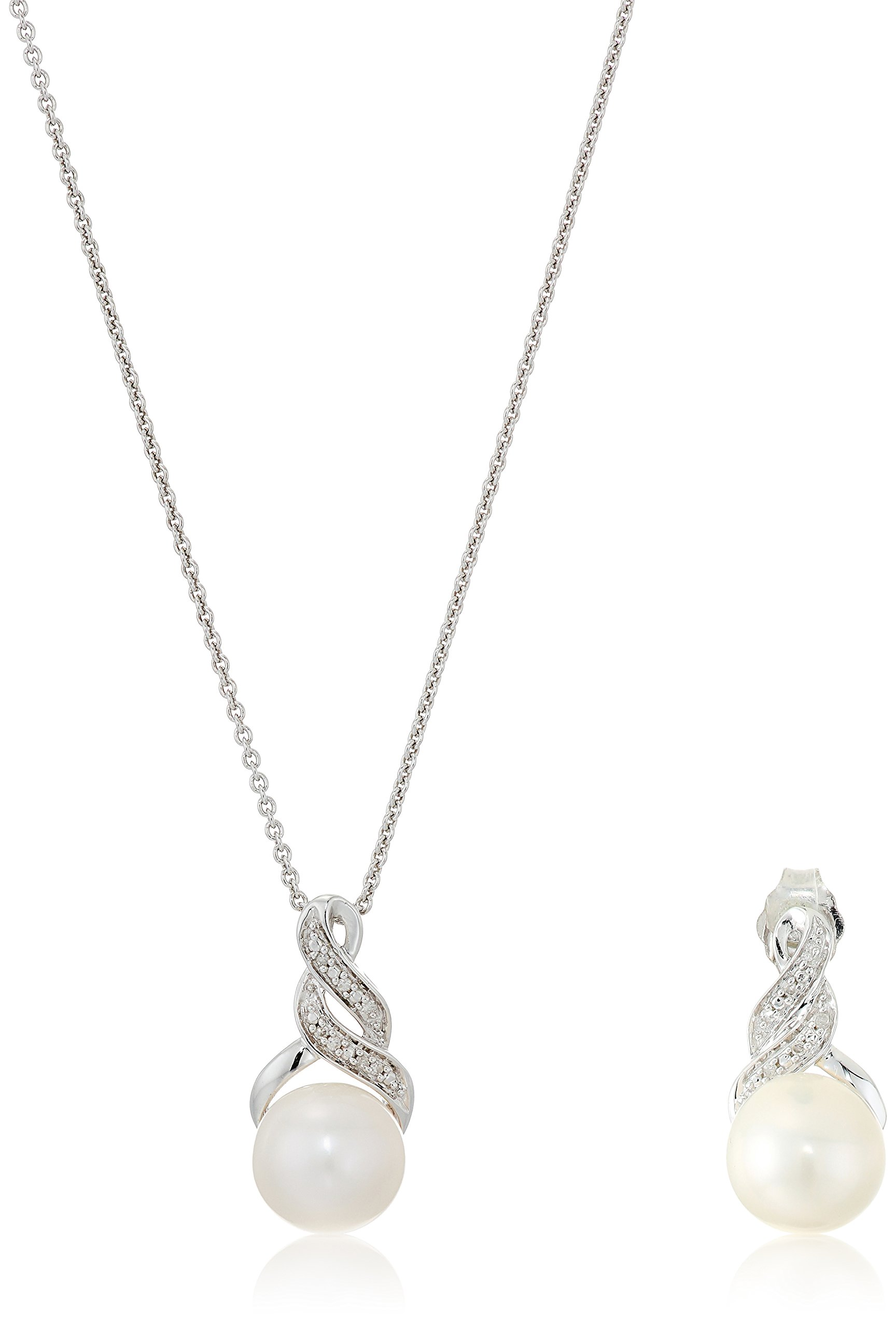 Sterling Silver Cultured Freshwater Pearl of 8 and 9mm with White Diamond Accent Earring and Pendant Necklace, 18''