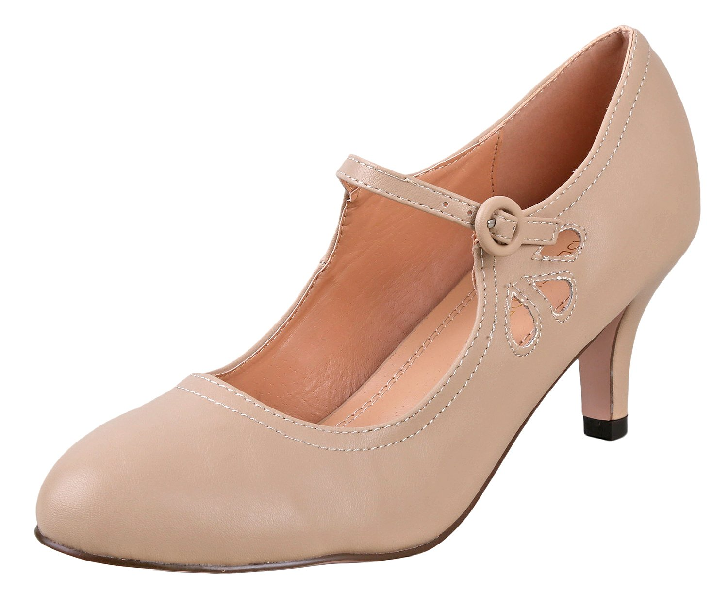 Chase & Chloe Women's Kimmy-21 Regular |Mary Jane | Mid Heel Shoes | Nude Low 6.5