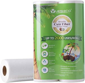 YUESHICO Reusable Paper Towels - Sustainable Coconut Fiber Unpaper Towels - Organic Super Strong Durable and Absorbent Washable Kitchen Paper Towels - Eco Friendly, Biodegradable - 2 Rolls, 40 Sheets